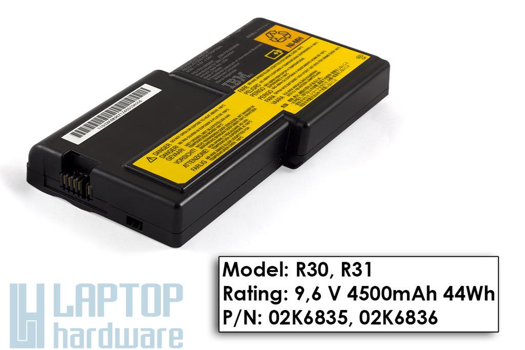 IBM ThinkPad R30, R31 gyári új 6 cellás laptop akku/akkumulátor  02K6835, 02K6836
