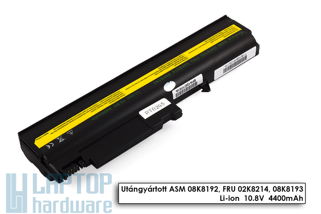 IBM ThinkPad R50, T40, T41, T42, T43 helyettesítő új 6 cellás laptop akku/akkumulátor (08K8194)