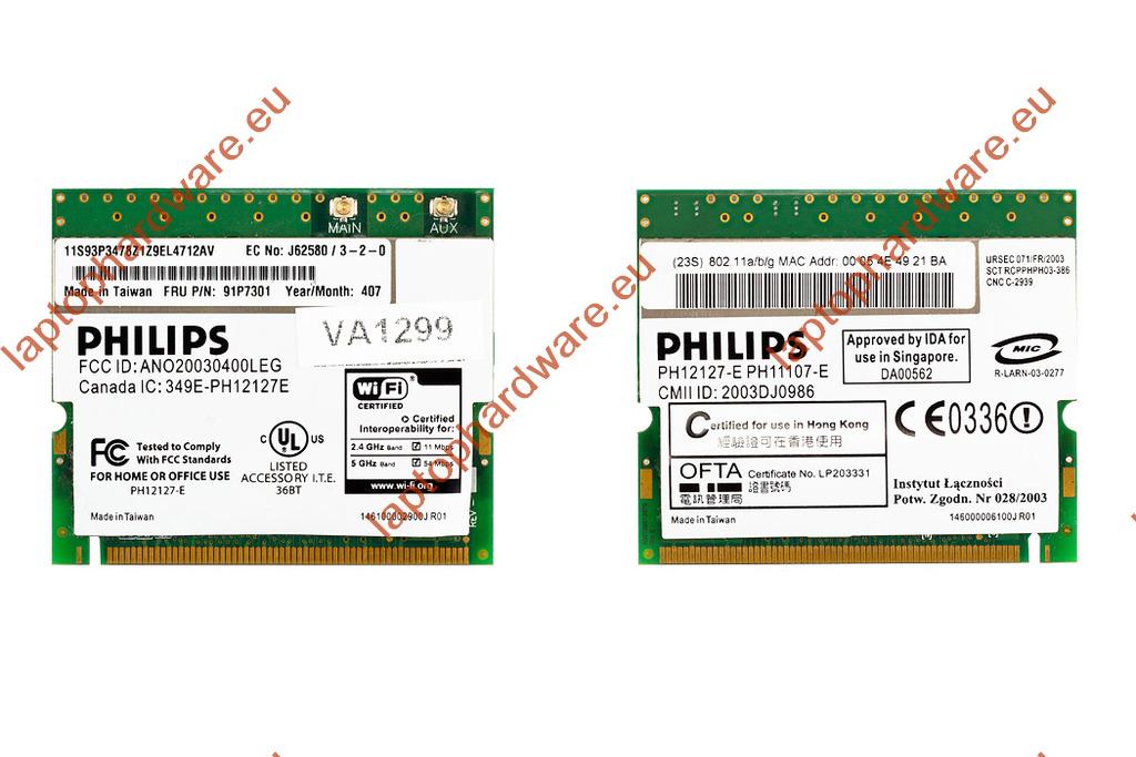Philips használt Mini PCI WiFi kártya IBM laptophoz (91P7301)