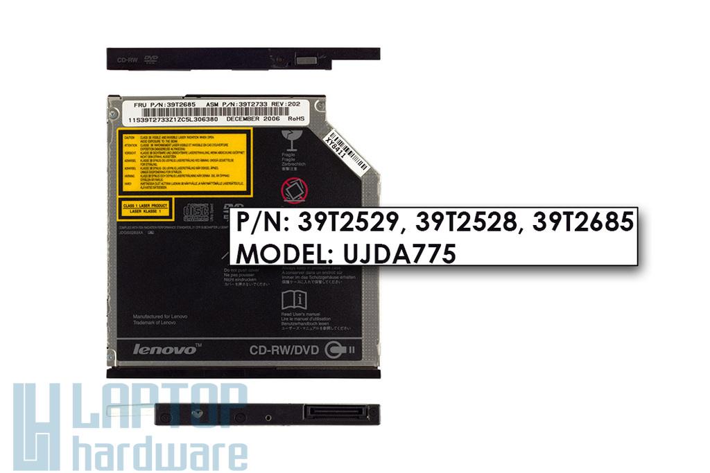 IBM ThinkPad T40, T41, T42, T43, T60, T61 használt laptop CD Író, DVD olvasó combó meghajtó (model: UJDA775, FRU:39T2685)