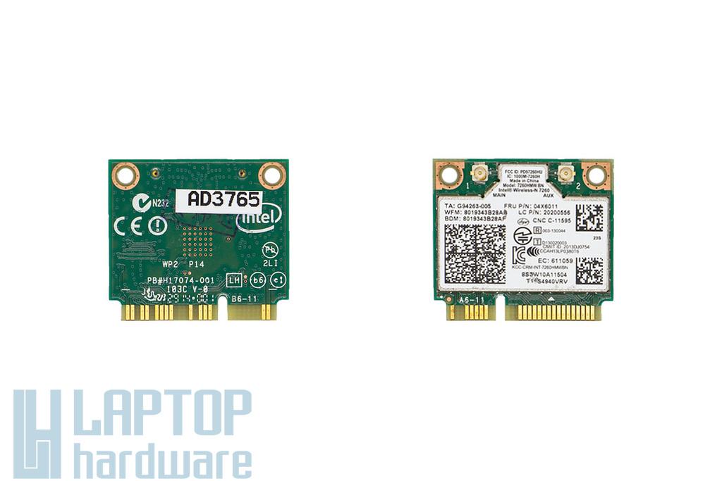Intel 7260HMW gyári új Mini PCI-e (half) WiFi + BlueTooth kártya Lenovo laptopokhoz (04X6011)