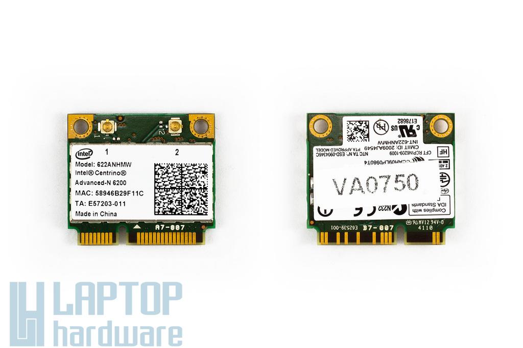 Intel Centrino Advanced N-6200 a,b,g,n használt PCIe (half) wifi kártya (622ANHMW)