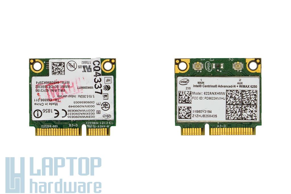 Intel Centrino Advanced-N + WiMAX 6250, Dual Band (622ANXHMW) gyári új Half Mini PCI-e WiFi kártya Lenovo laptopokhoz (FRU: 60Y3195)