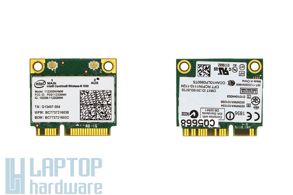 Intel Centrino Wireless-N 1030 használt Half Mini PCI-e laptop WiFi + Bluetooth kártya (11230BNHMW)
