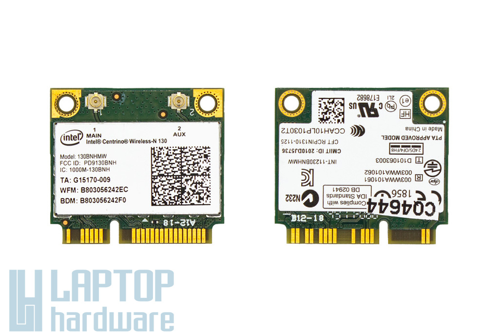 Intel Centrino Wireless-N 130 használt Half Mini PCI-e laptop WiFi + Bluetooth kártya (130BNHMW)