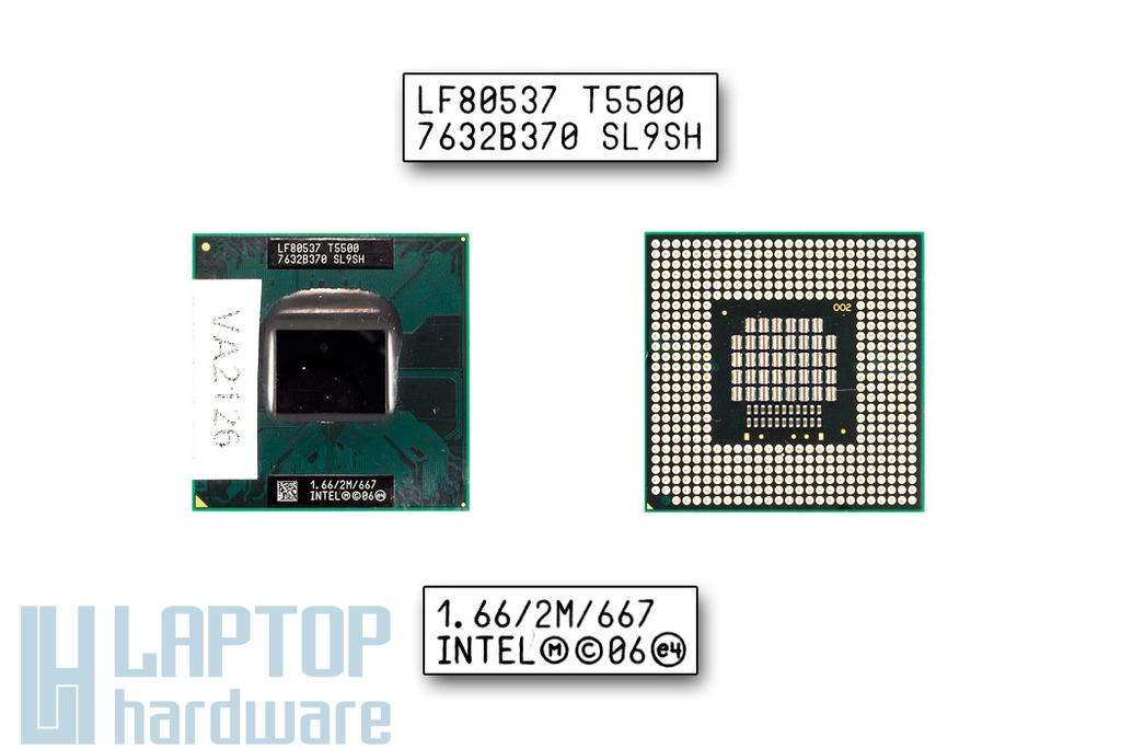 Intel Core 2 Duo T5500 1660MHz használt laptop CPU (SL9SH)
