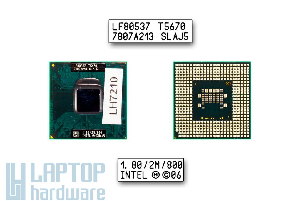 Intel Core 2 Duo T5670 1800MHz használt laptop CPU, SLAJ5