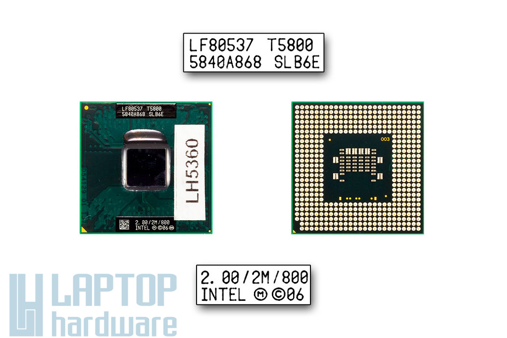 Intel Core 2 Duo T5800 2000MHz használt laptop CPU (SLB6E)