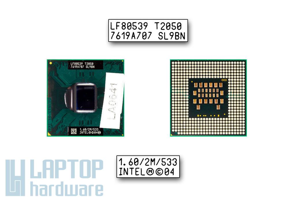 Intel Core Duo T2050 1600MHz használt laptop CPU (SL9BN)
