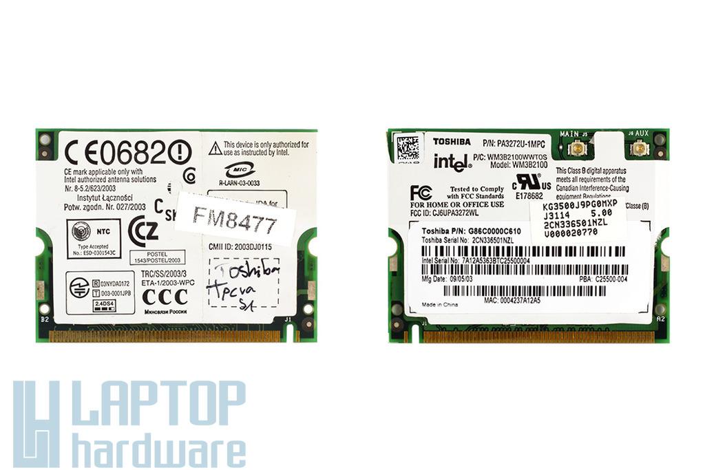 Intel Pro Wireless 2100b használt Mini PCI laptop WiFi kártya Toshiba laptopokhoz (PA3272U-1MPC)