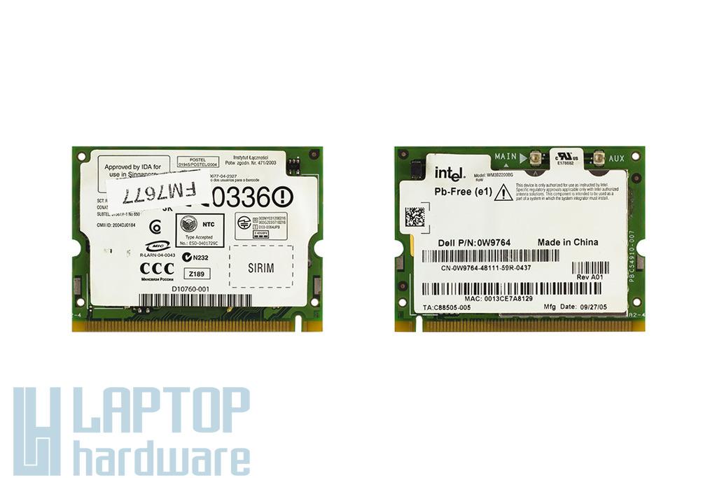 Intel Pro Wireless 2200BG használt Mini PCI laptop WiFi kártya DELL laptopokhoz (DP/N : 0W9764)