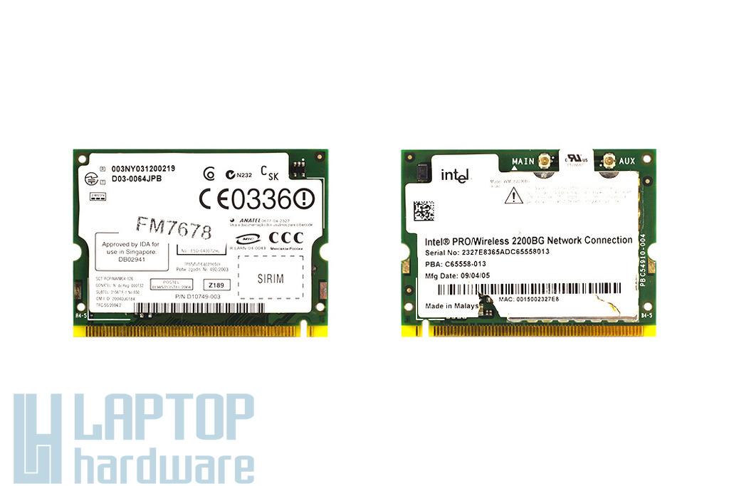 Intel Pro Wireless 2200BG használt Mini PCI laptop WiFi kártya (WM3B2200BG)