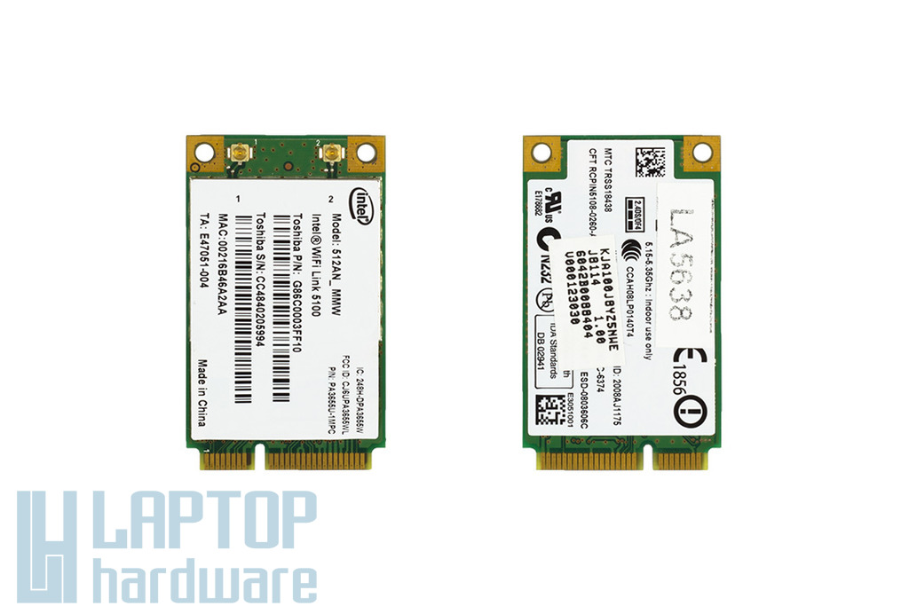 Intel WiFi Link 5100 használt Mini PCI WiFi kártya  (512an_mmw)