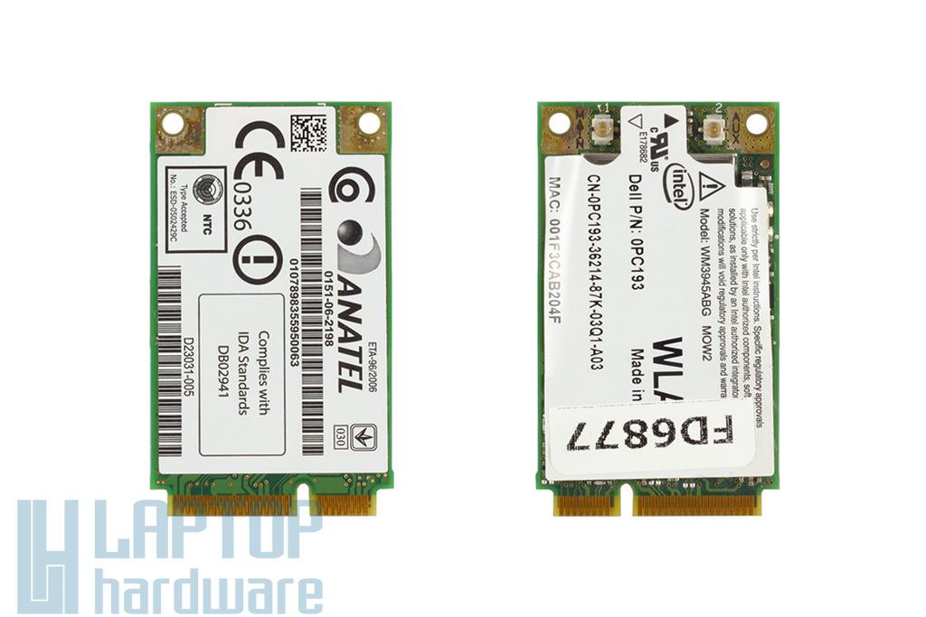 Intel WM3945ABG használt Mini PCI-e WiFi kártya Dell laptophoz (0PC193)