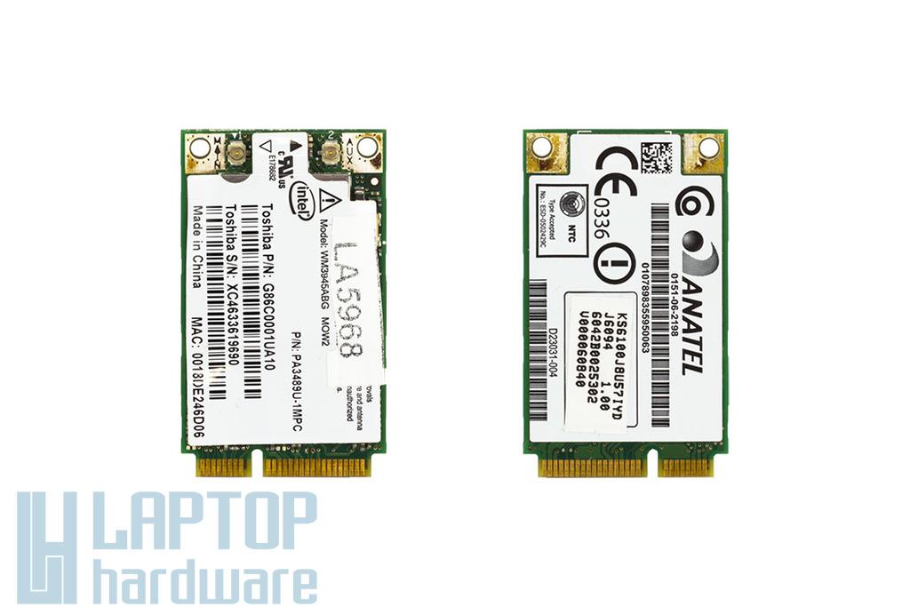 Intel WM3945ABG használt Mini PCI WiFi kártya Toshiba laptophoz (PA3489U-1MPC)