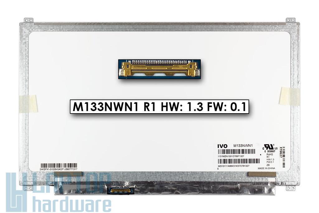 Gyári új matt 13.3'' HD (1366x768) LED laptop Slim kijelző (csatlakozó: 30 pin - bal)