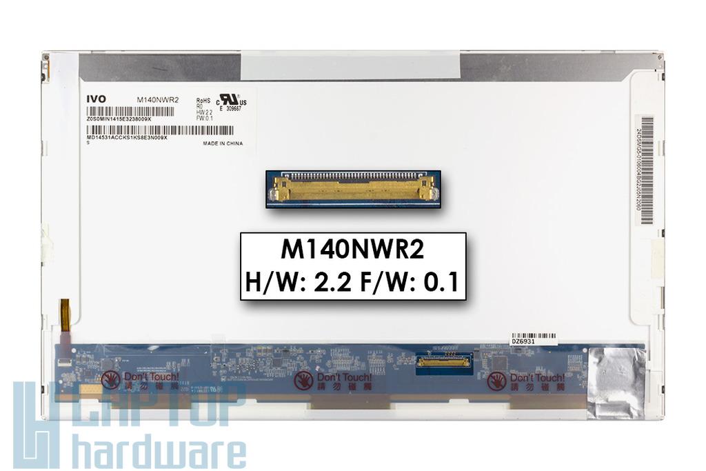 Gyári új fényes 14.0'' HD (1366x768) LED laptop kijelző (csatlakozó: 40 pin - jobb)