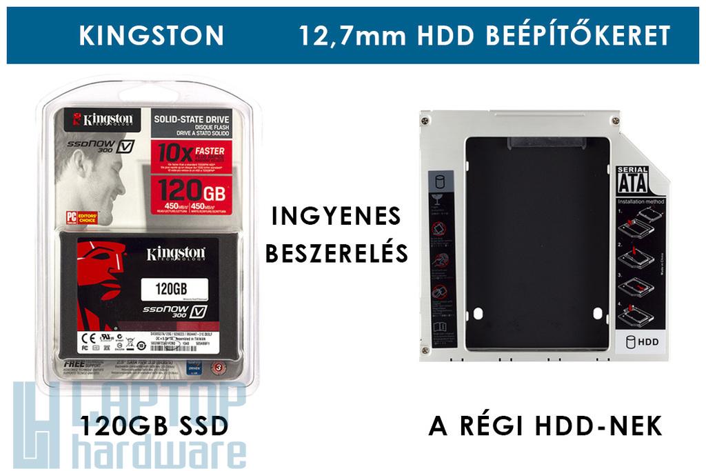 Kingston 120GB SSD meghajtó (SV300S37A) + 12,7mm-es a DVD meghajtó helyére beépíthető winchester beépítő keret | 3 év garancia! | Ingyenes beszereléssel!