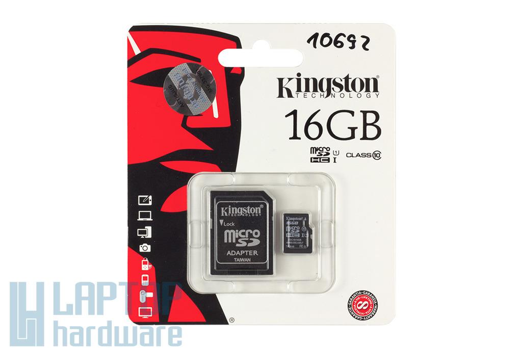 Kingston 16GB Class 10 MicroSD kártya + adapter (SDC10/16GB, SDC10G2/16GB)