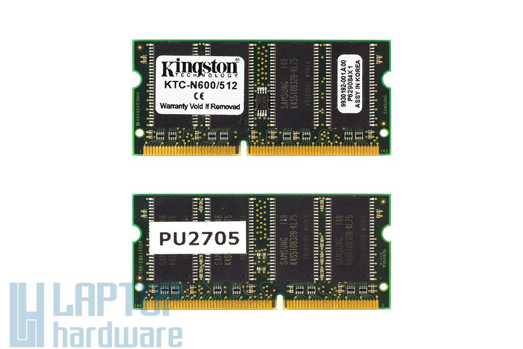 Kingston 512MB SDRAM 133MHz használt laptop memória, KTC-N600