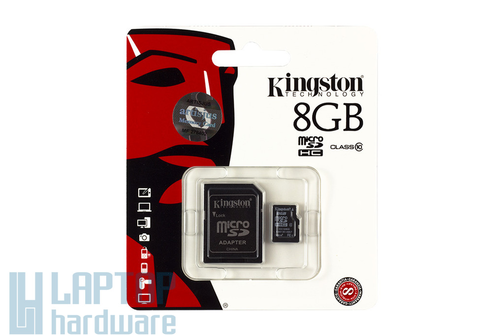Kingston 8GB Class 10 MicroSD kártya + adapter (SDC10/8GB)