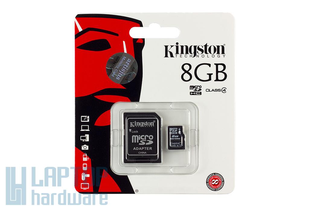 Kingston 8GB Class 4 MicroSD kártya + adapter (SDC4/8GB)