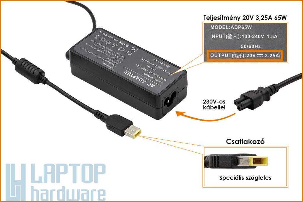 Lenovo 20V 3.25A 65W helyettesítő új laptop töltő, sárga téglalap alakú csatlakozóval