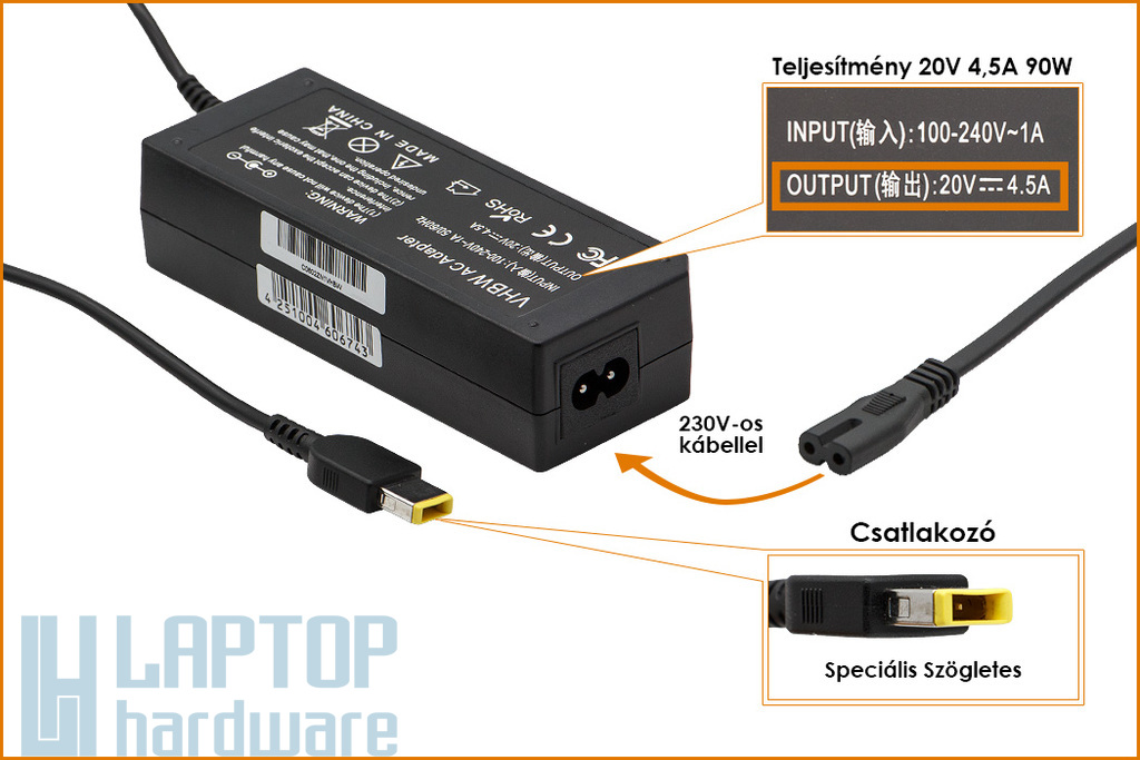 Lenovo 20V 4.5A 90W helyettesítő új laptop töltő, sárga téglalap alakú csatlakozóval