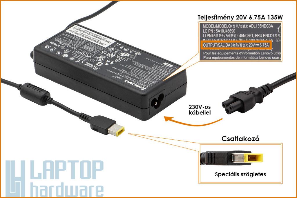 Lenovo 20V 6.75A 135W gyári új laptop töltő, sárga téglalap alakú csatlakozóval, 45N0501