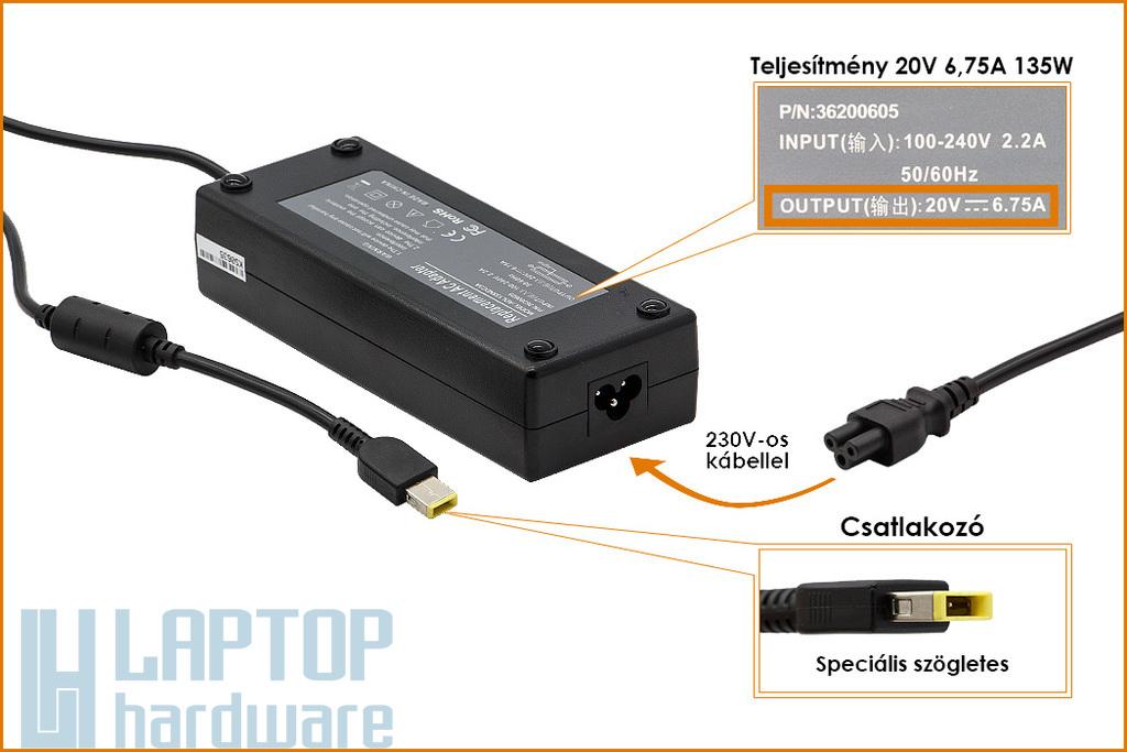 Lenovo 20V 6.75A 135W helyettesítő új laptop töltő, sárga téglalap alakú csatlakozóval