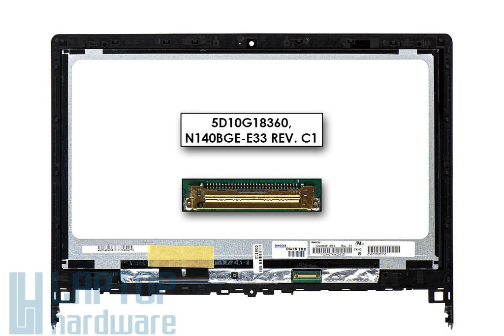 Lenovo Flex 2-14D gyári új fényes 14.0'' WXGA HD (1366x768) eDP laptop Slim kijelző modul kerettel (5D10G18360, N140BGE-E33 Rev. C1)