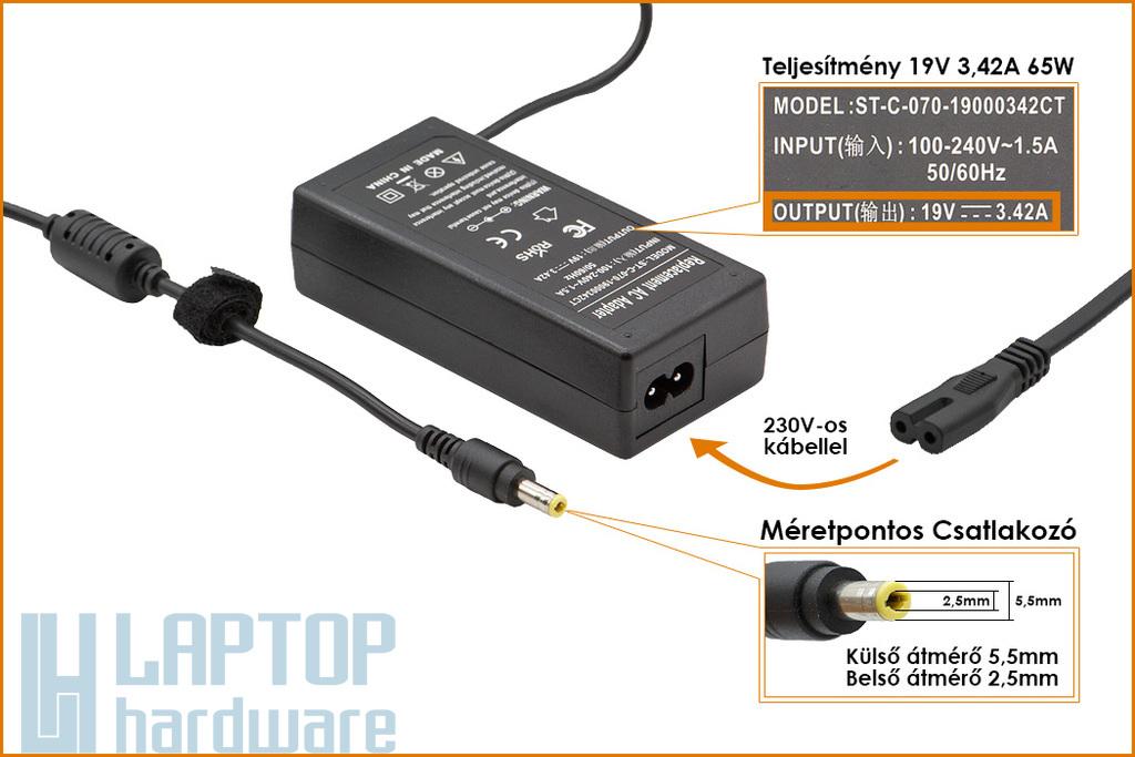 Lenovo IdeaPad 19V 3.42A  65W helyettesítő új laptop töltő