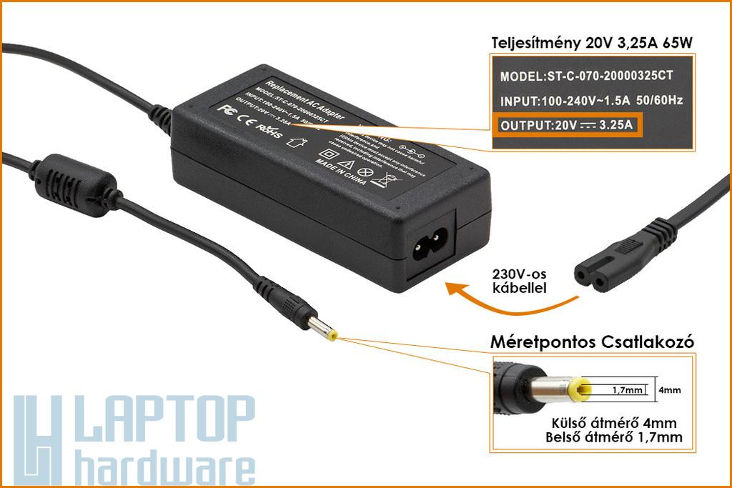 Lenovo IdeaPad 20V 3.25A 65W 4mm/1.7mm helyettesítő új  laptop töltő