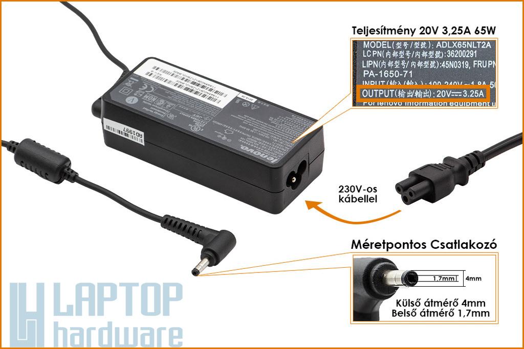 Lenovo IdeaPad 20V 3.25A 65W (4mm/1,7mm csatlakozós) gyári új laptop töltő (PA-1650-72)