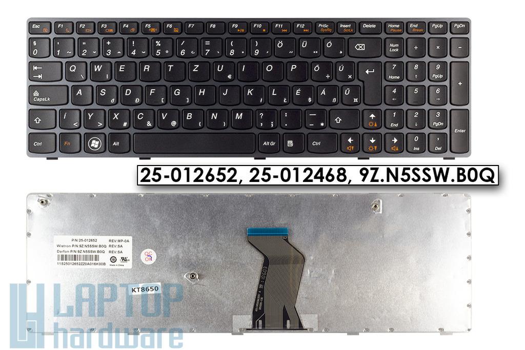 Lenovo Ideapad B570, V570, Z570, Y570 gyári új magyar fekete keretes laptop billentyűzet (25-012652, 25-012468)