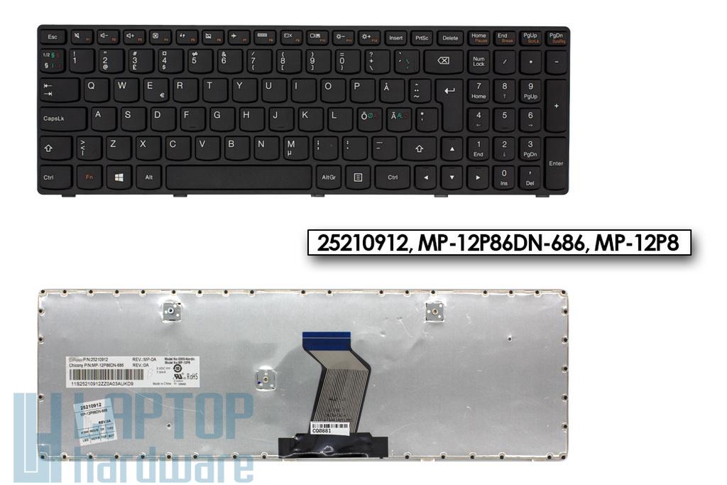 Lenovo IdeaPad G500, G505, G510 gyári új norvég fekete billentyűzet (25210912)