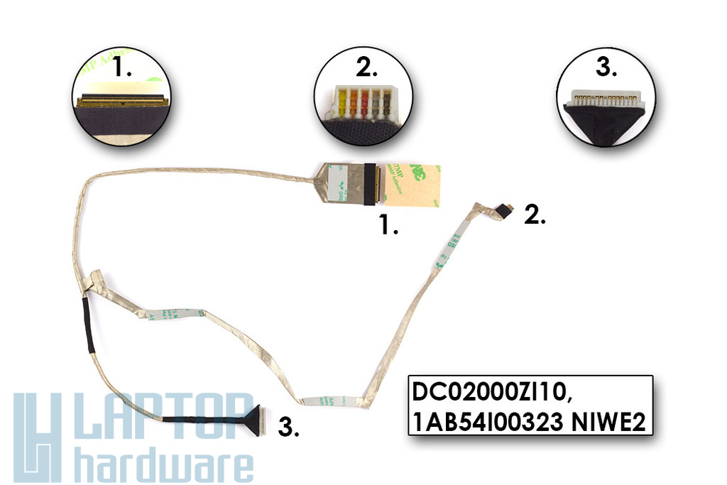 Lenovo IdeaPad G560, G565, Z560 gyári új laptop kijelző LCD kábel (DC02000ZI10)