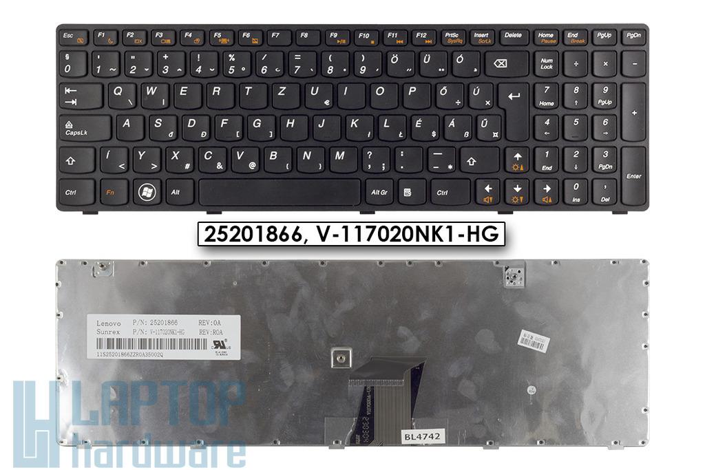 Lenovo IdeaPad G580, G585 gyári új magyar, fekete keretes billentyűzet (25201836, 25206679)