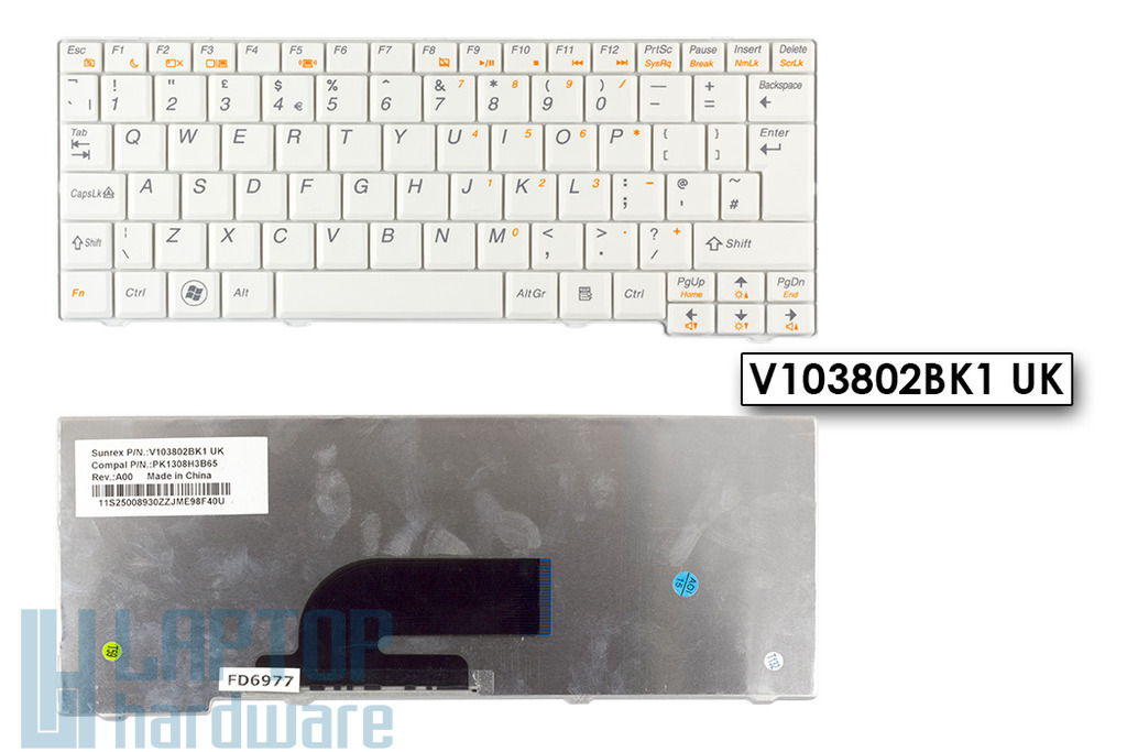 Lenovo IdeaPad S10-2, S11 gyári új fehér UK angol laptop billentyűzet (V103802BK1)