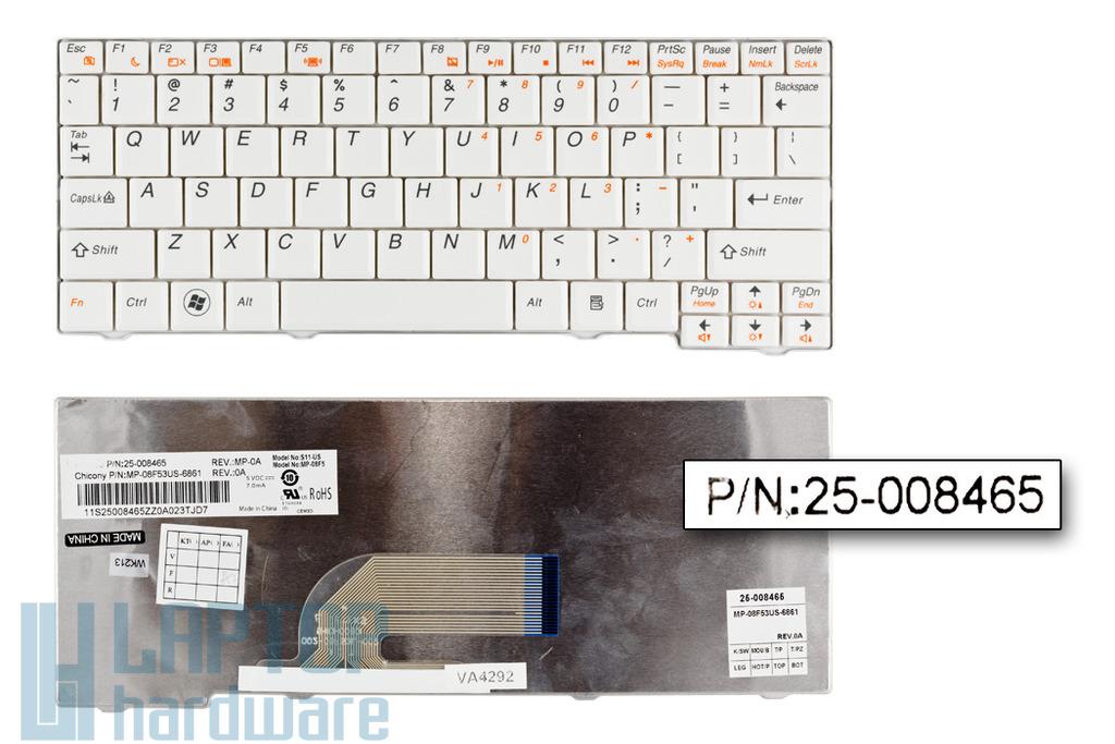 Lenovo IdeaPad S10-2, S11 gyári új fehér US angol laptop billentyűzet (25-008465)