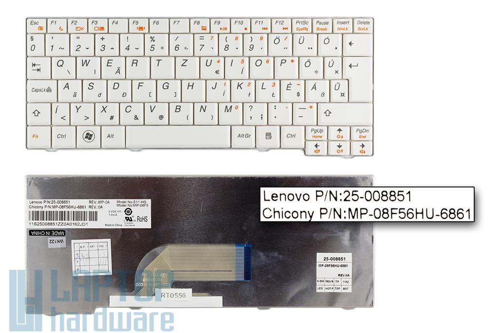 Lenovo IdeaPad S10-2, S11 gyári új magyar fehér laptop billentyűzet (25-008851)