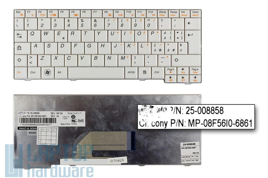 Lenovo IdeaPad S10-2, S11 gyári új olasz fehér laptop billentyűzet (25-008858)