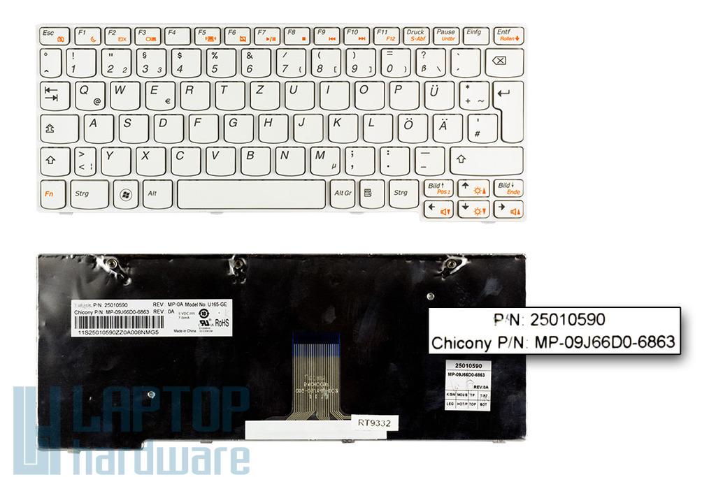 Lenovo IdeaPad S205, U160, U165 gyári új német fehér laptop billentyűzet (25010590)