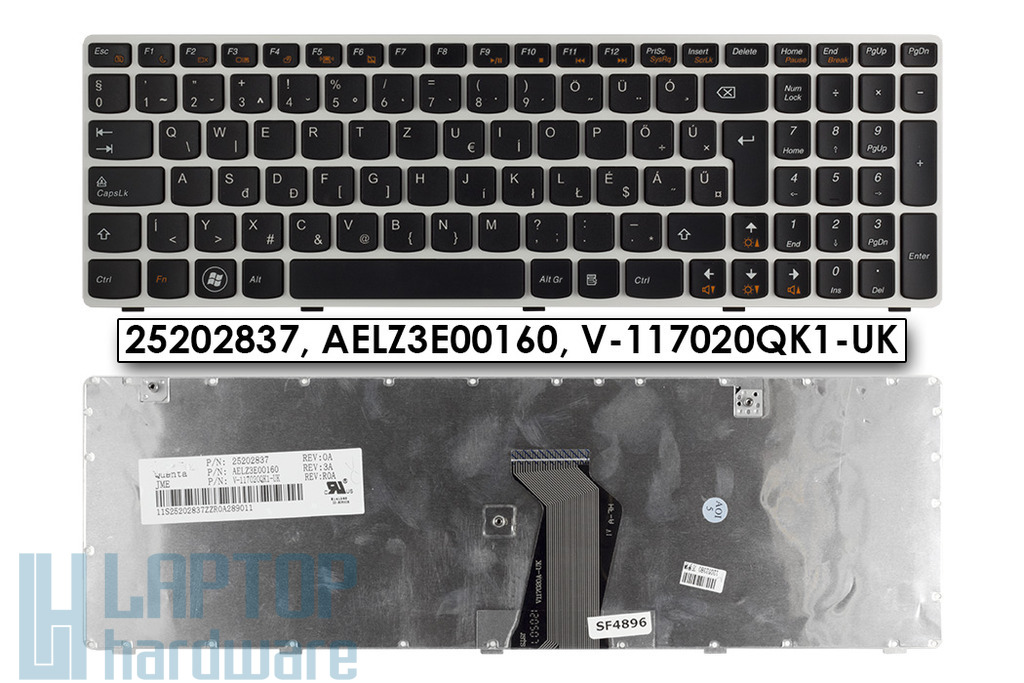 Lenovo Ideapad V580, Z580 fehér-fekete magyarított laptop billentyűzet, 25202837