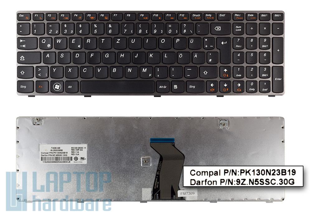 Lenovo Ideapad V580, Z580 szürke-fekete német laptop billentyűzet, 25203958