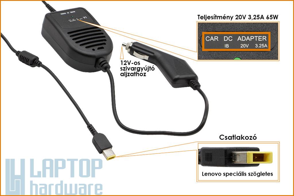 Lenovo IdeaPad Yoga 20V 3.25A 65W helyettesítő új autós laptop töltő, AC-M414