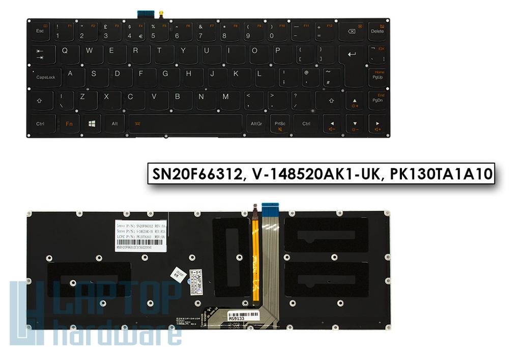 Lenovo IdeaPad Yoga 3 Pro gyári új UK angol fekete háttér-világításos laptop billentyűzet (SN20F66312, V-148520AK1-UK, PK130TA1A10)