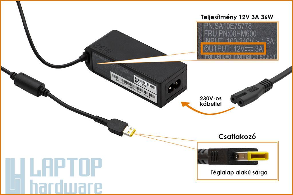 Lenovo ThinkPad 10, Helix 2 12V 3A 36W gyári új laptop töltő (FRU: 00HM600)
