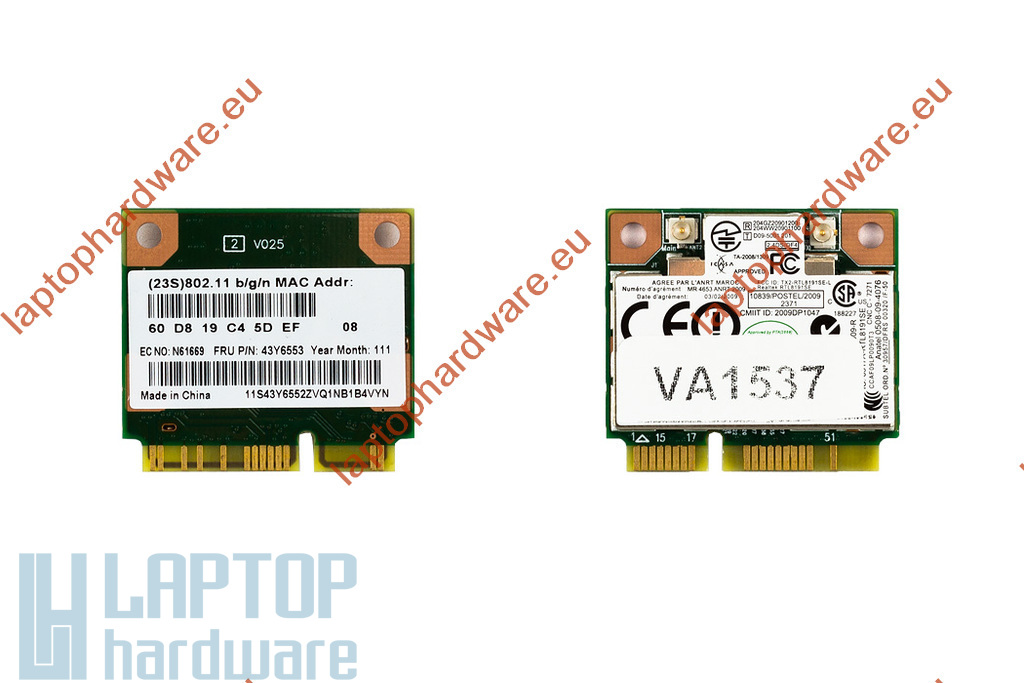 Realtek RTL8191SE használt Mini PCI-e (half) WiFi kártya Lenovo laptophoz (FRU 43Y6553)