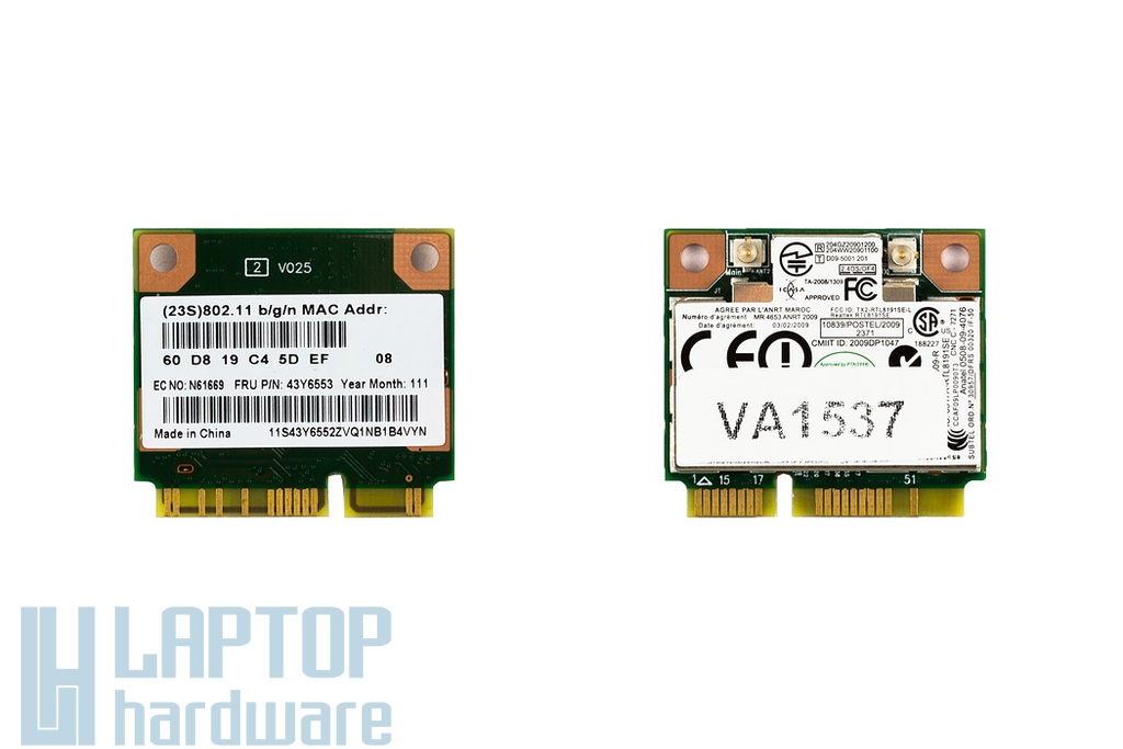 Lenovo ThinkPad Realtek RTL8191SE gyári új Mini PCI-e (half) WiFi kártya (FRU 43Y6553)